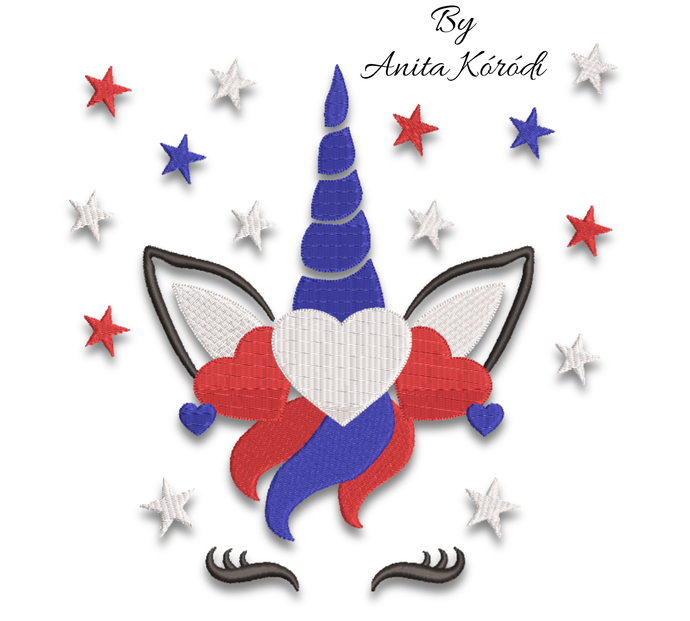 USA Unicorn embroidery machine design pes America 4th of July instant digital