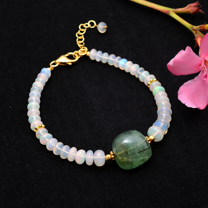 Emerald Beaded Bracelet,Emerald Tumbled,Emerald Jewelry,Ethiopian Opal Beaded
