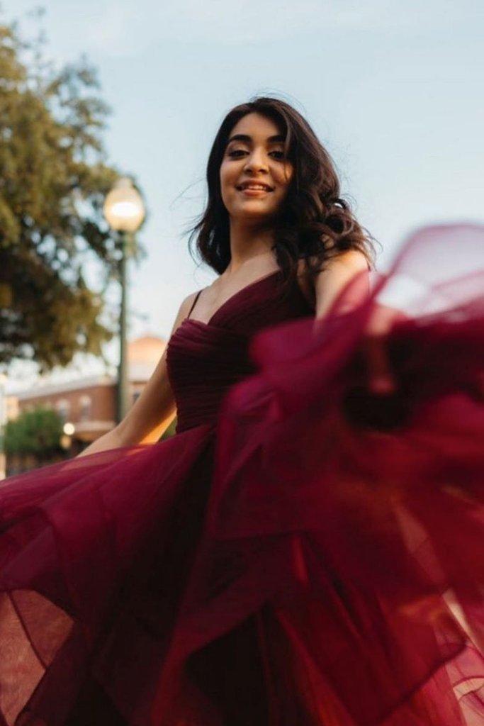Burgundy Tulle V-neckline Long Fashionable Formal Dress, Wine Red Prom Dress