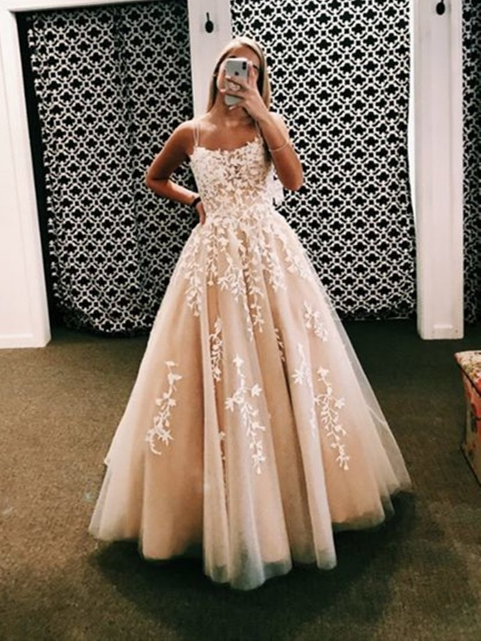 Gorgeous  Pink Long Lace Prom Dresses, Open Back Long Lace Formal Evening Dress