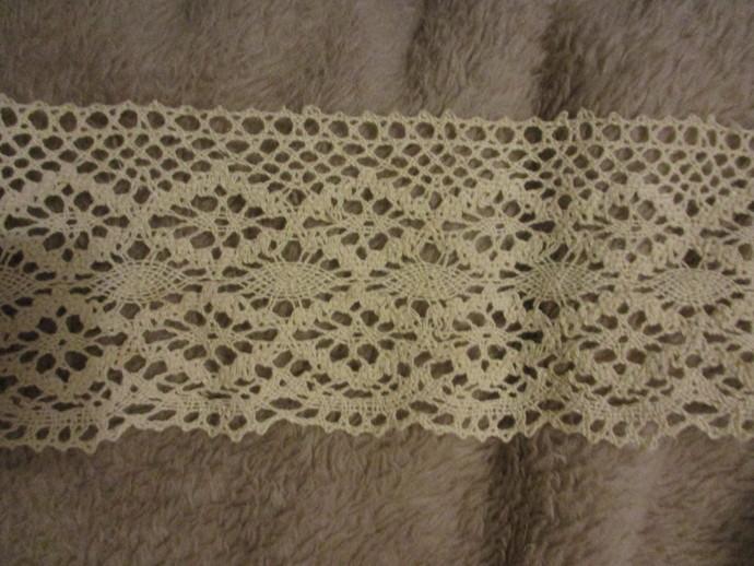 3yds of Beautiful 4 inch Wide Cream Cotton Crochet Trim
