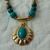 vintage green teal cobalt blue gold brass pendant necklace