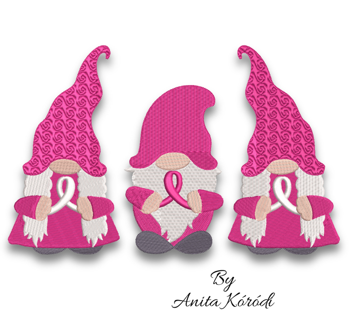 Breast cancer gnomes embroidery machine designs pes instant digital download