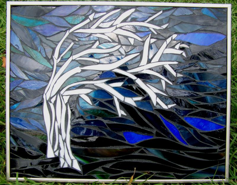 Windswept And Alone Mosaic Winter Tree By
