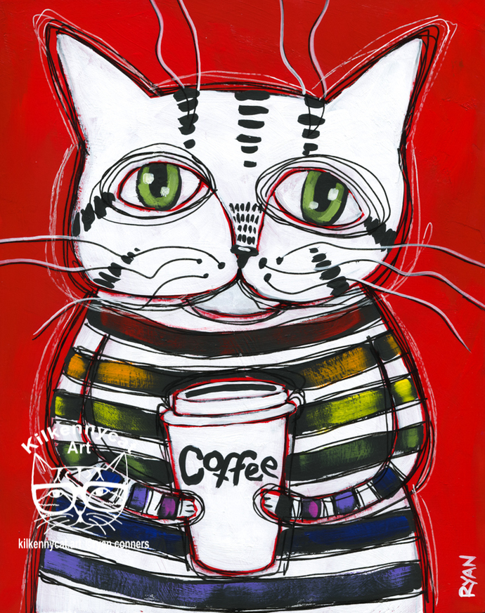 Funky Coffee Cat Original Whimsical Cat Folk Art Painting