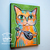 Funky Cat With Mandolin Original Whimsical Cat Folk Art Painting