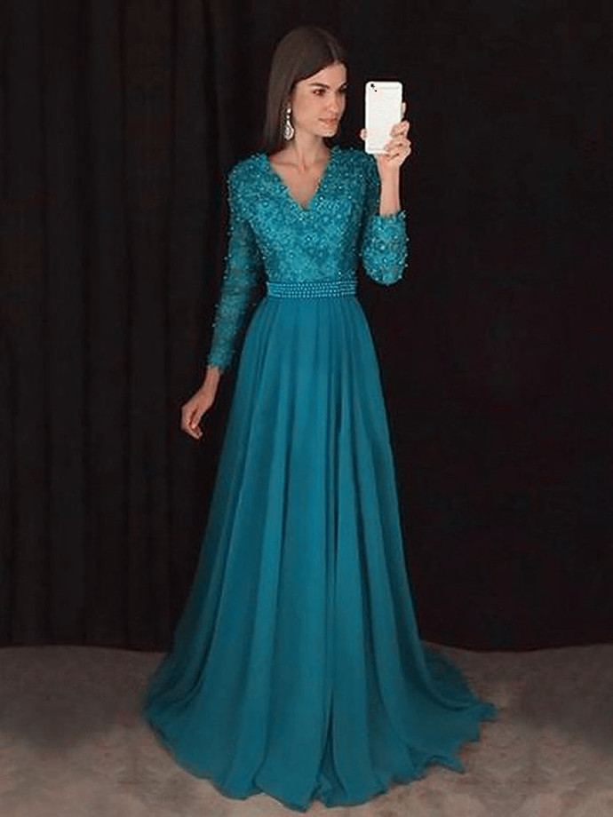 Teal Blue V Neck Chiffon Lace Prom Dress with Long Sleeves , Floor Length