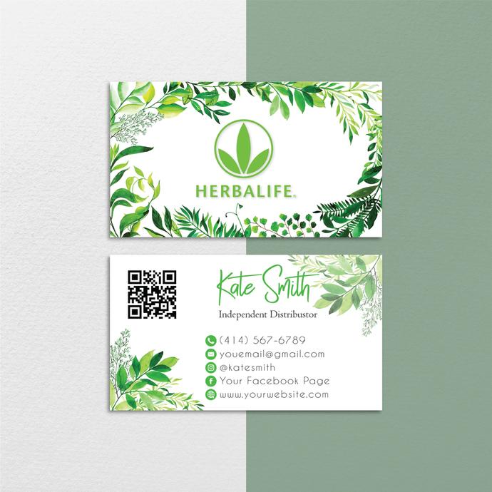 Leaf Herbalife Business Cards, Custom Herbalife Business Cards, Herbalife Care