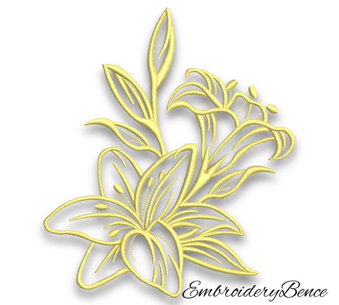 Lily Embroidery Machine Design Flower Pes Digital Instant Download