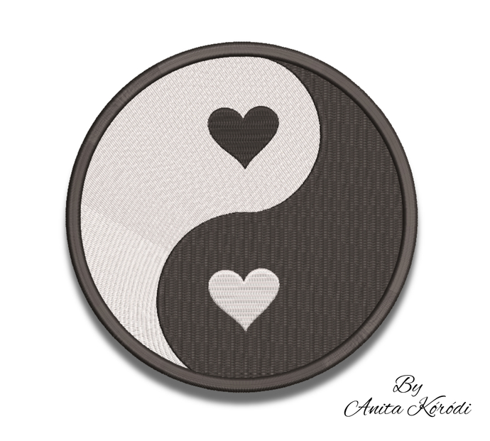 Ying-Yang embroidery machine designs hearts pes pattern