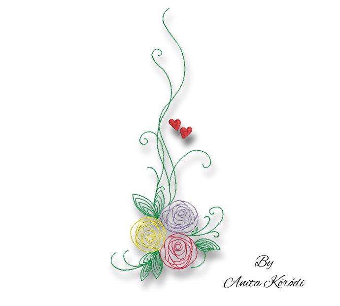 Rose Embroidery Machine Designs Pes Outline Flowers designs