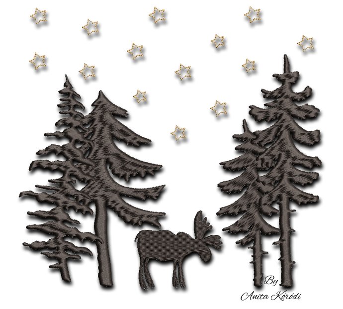 Reindeer machine embroidery designs pes christmas forest pine tree pattern