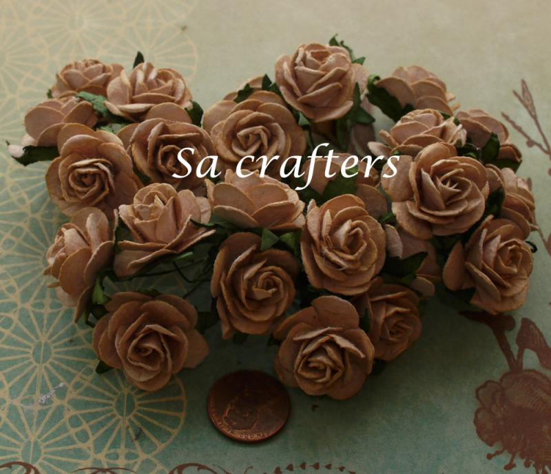 1inch Roses Paper Flowers In Brown Color 50 Sacrafters