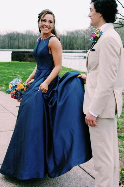 Navy Prom Dress,Satin Prom Gown,O-Neck Evening Dress,Backless Prom Gown 049