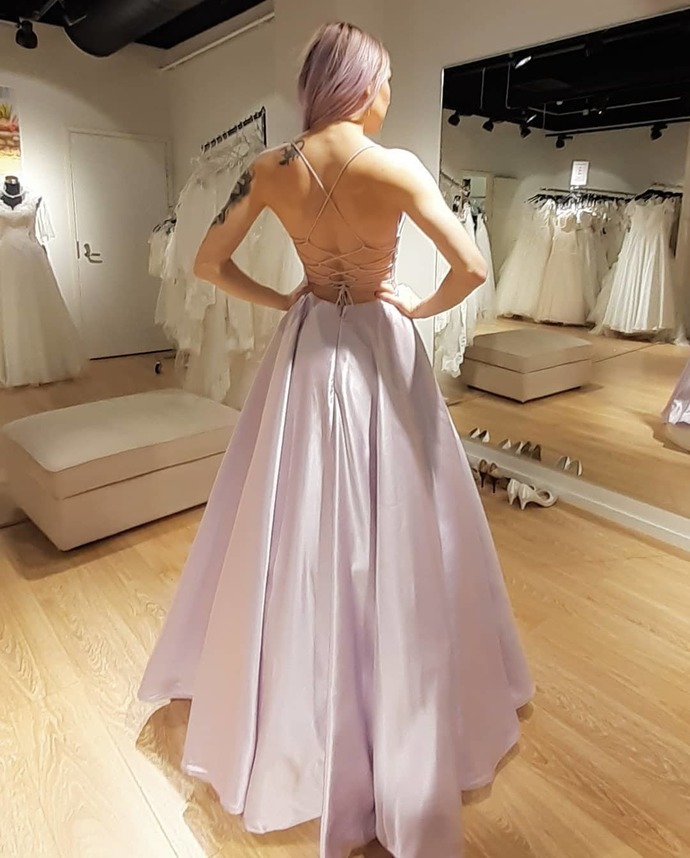 Charming Prom Dress,Satin Prom Gown,O-Neck Evening Dress,Backless Prom Gown 048