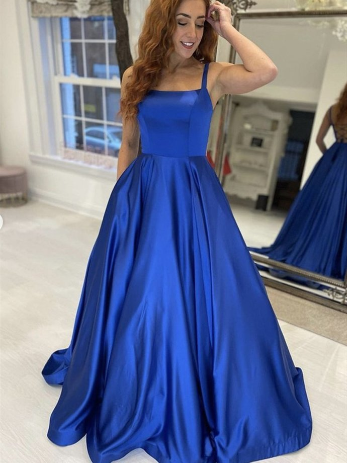 Blue Satin Straps Long Prom Dresses, Royal Blue Formal Graduation Evening