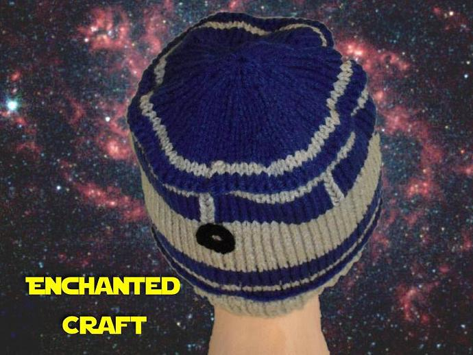 Hand Knitted R2-D2 Hat for the fan of Star Wars