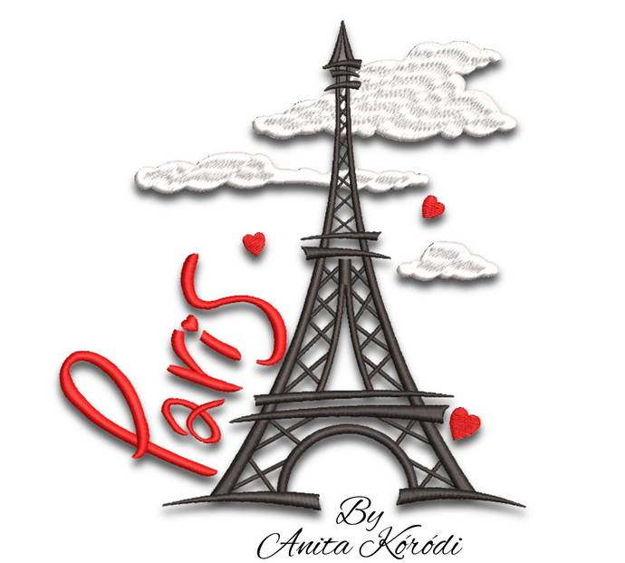 Paris embroidery machine designs Eiffel tower pes machine pattern love