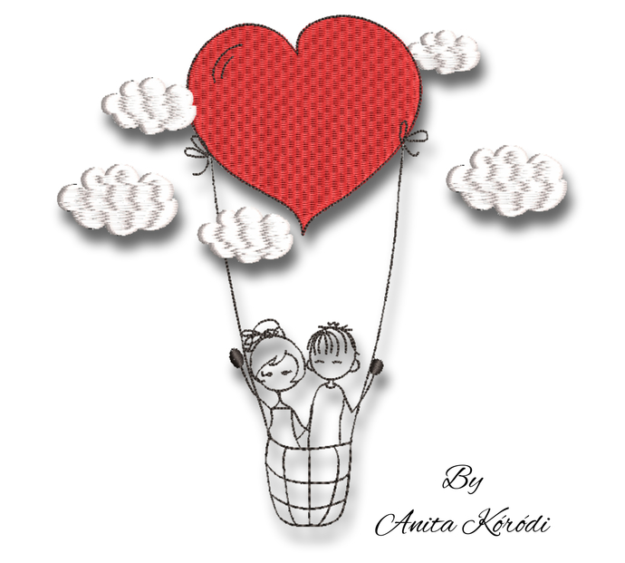 Love embroidery machine designs pes hot air balloon girl and boy