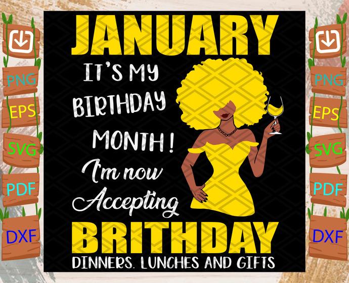 January Is My Birthday Month Svg, Birthday Svg, January Birthday, Birthday Month