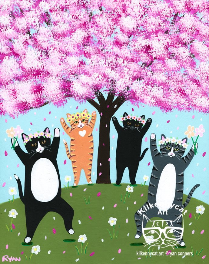 The Celebration of Spring Original Dancing Cats Folk Art Painting