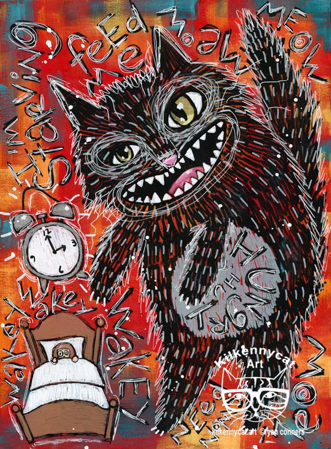 The 3 a.m. Monster 3 Original Whimsical Cat Folk Art Painting