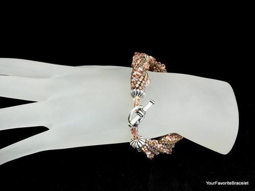 Tubular Herringbone Stitch Crystal Seed Bead Bracelet