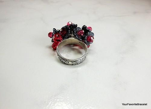 Sterling Silver Pink Crystal Black Flower Bouquet Ring