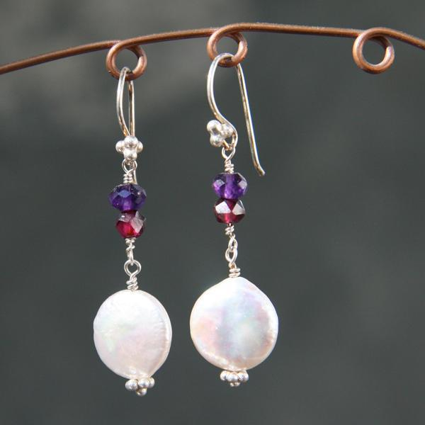Pearl, Garnet and Amethyst Earrings