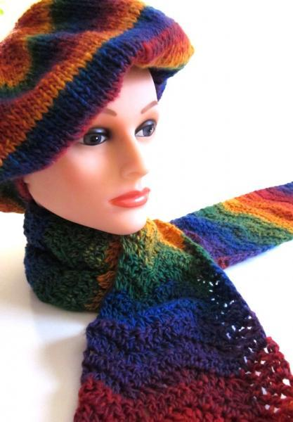 Designer Knit Crochet Winter Fashion Hat and Scarf Set