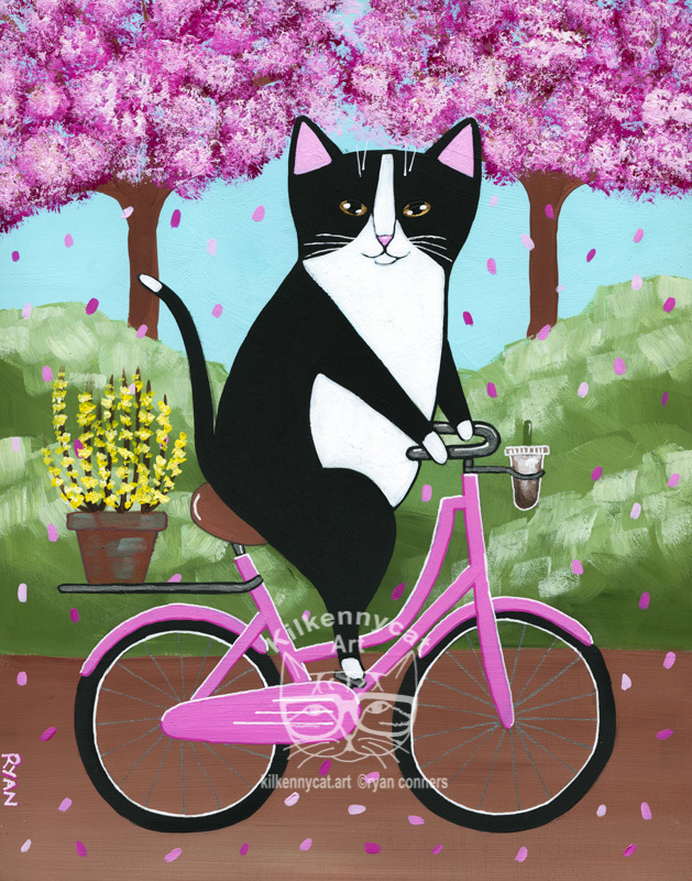 A Spring Bicycle Ride Original Cats Folk Art Painting