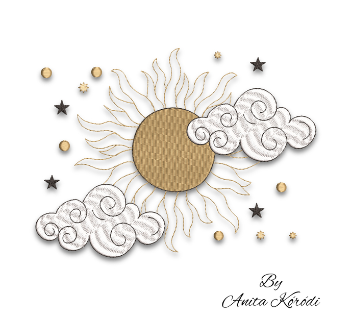 Sun embroidery machine designs clouds pes instant digital download