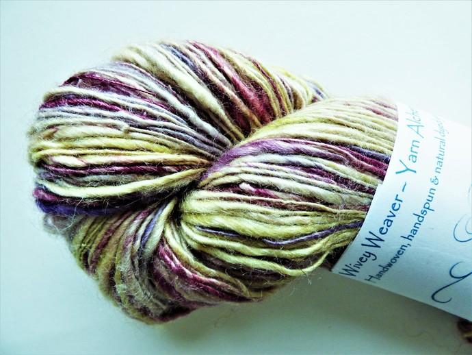 Handspun Yarn – Camel and Silk Blend – Sport Weight – Cream / Green / Raspberry