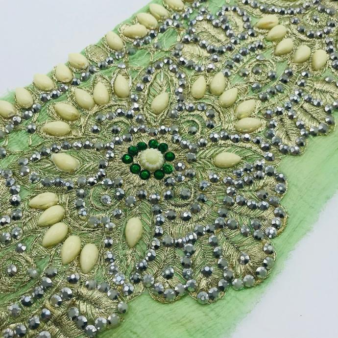 T259 Vintage Beaded Boho Trim Piece, Junk Journal Embellishments, Beaded scraps,