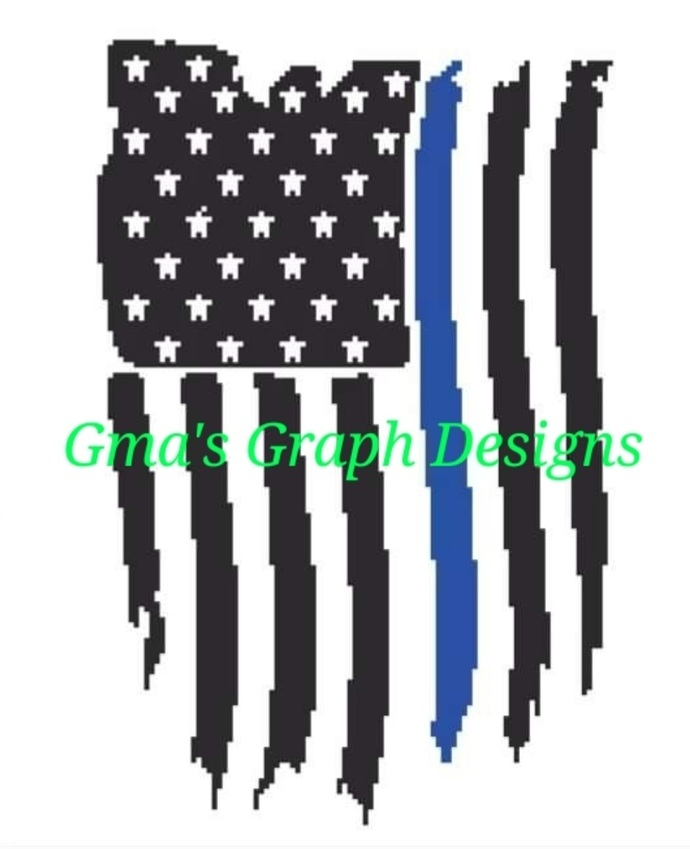 Depressed Blue Line Flag 170 x 140 hdc