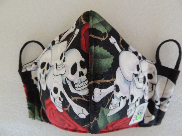 Don't Touch Your Face™ Bamboo Lined Barrier Masks-skulls n roses