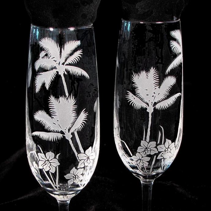 Tropical Beach Champagne Glasses Engraved By Bradgoodell On Zibbet