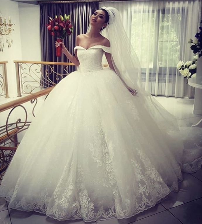 off the shoulder wedding dresses ball gown lace applique princess elegant boho