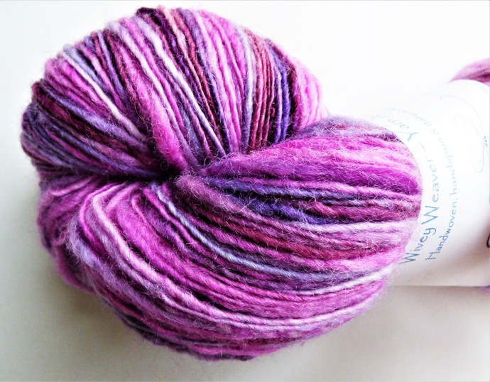 Handspun Yarn – Bluefaced Leicester Wool – Sport Weight – Pink / Wine Red /