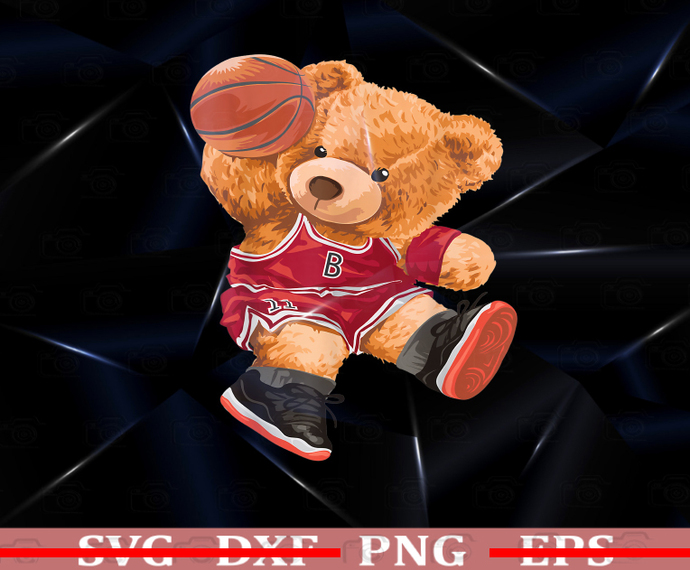 Funny Teddy Bear PNG, Basketball Slam PNG, Dunk Sport PNG, Cute Cartoon PNG,
