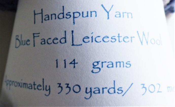 Handspun Yarn – Bluefaced Leicester Wool – Sport Weight – Blue / Oatmeal HY410