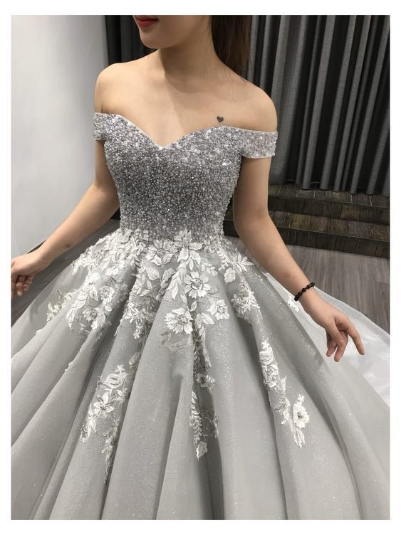 Off the shoulder grey prom dress, charming prom dress M10322