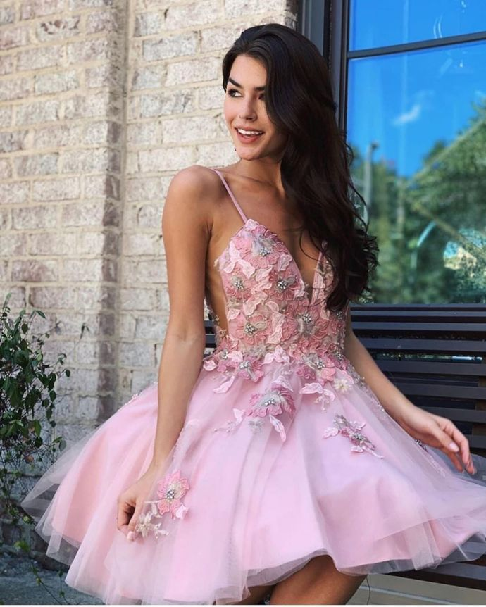 Sexy Appliques V-Neck A-Line Homecoming Dresses,Short Prom Dresses,Cheap