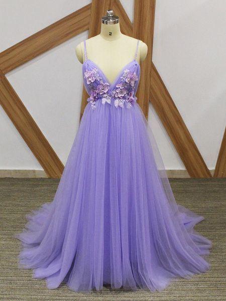 Spaghetti Straps Purple V Neck Tulle Prom Dress M10325