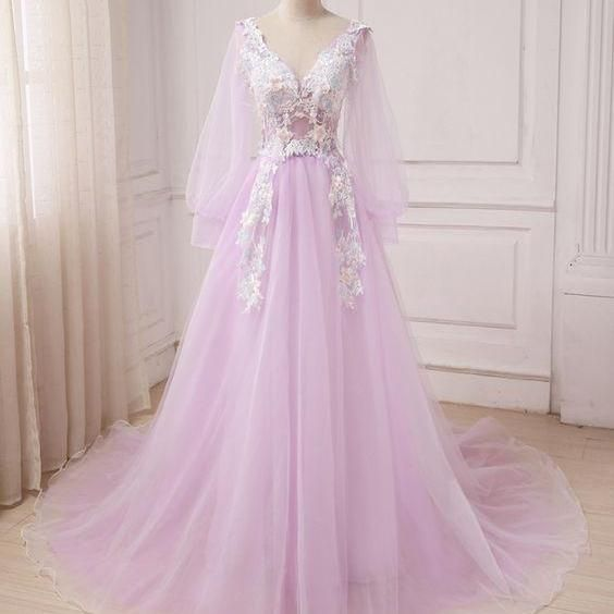Tulle V Neck Long Sleeve A-line Customize Prom Dress M10326