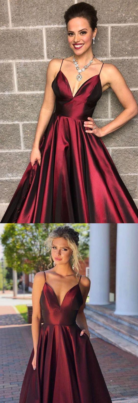 Elegant Burgundy Long Prom Dress with Spaghetti Straps M10336