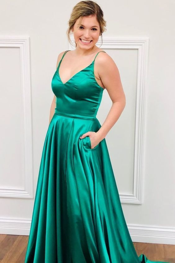 Simple Long Prom Dresses, Green Prom Dresses with Pockets M10337