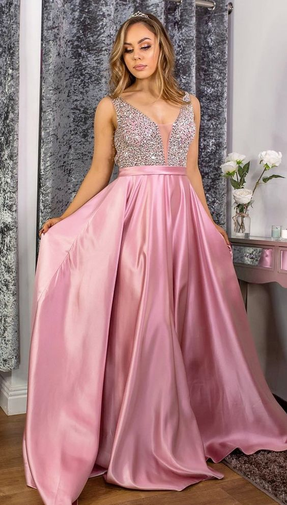 Elegant Pink Long Prom Dress with Sparkle Tops M10338