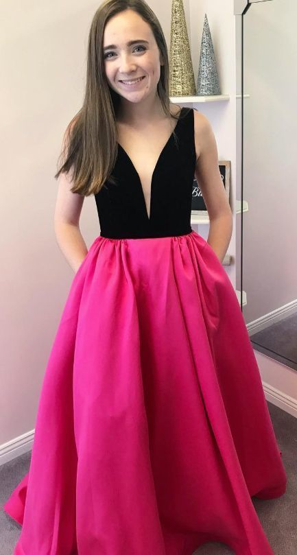 Elegant black and hot pink prom dresses M10339
