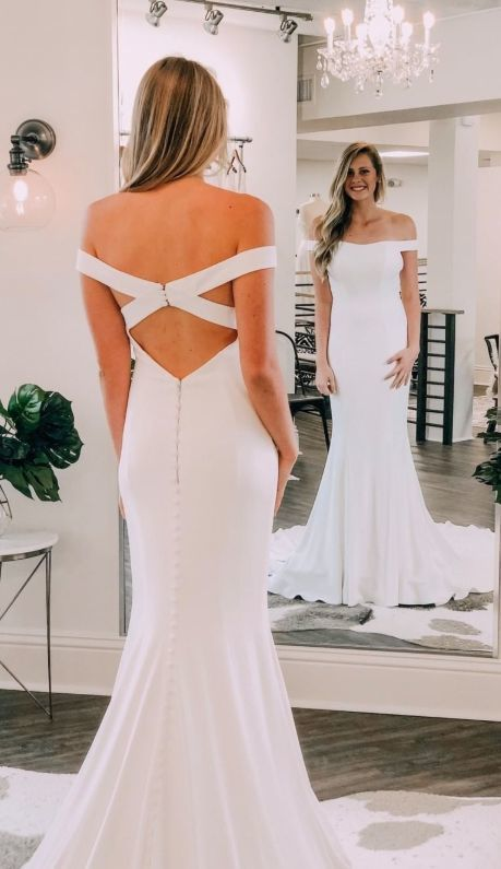 Simply Elegant Off the Shoulder Mermaid White Long Prom Dress M10340
